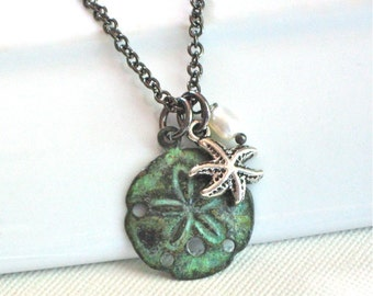 Small Sand Dollar Necklace -  Starfish, Patina, Pearl, Gunmetal,  Ocean Jewelry, Beach Jewelry