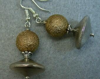 Vintage 1950s West German Silver Abacus Glass Bead Earrings, Vintage Gold Bead