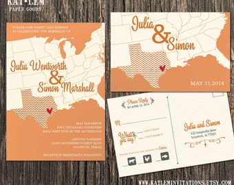 Texas Wedding Invitation Set - Texas State  Destination Wedding