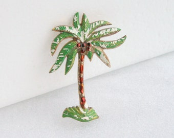 1950s Palm Tree Brooch Vintage Retro Funky Shabby Celluloid Hawaii Figural Pin