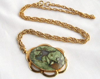Green Agate Necklace Vintage Green and Blue Marbled Oval Stone Cabochon Gold Chain