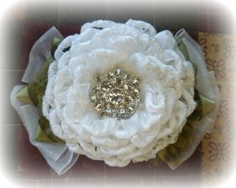 SALE - just marked 5 dollars off - Lovely White Ribbon Rose with Rhinestones Bridal Hairpiece