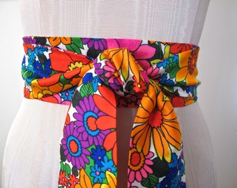 Flower Power Waist Belt Obi Belt Cotton Sateen Vintage Fabric - made to order - limited