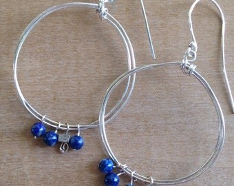 Handmade Silver Wire Hoops with Blue Denim Lapis Bead