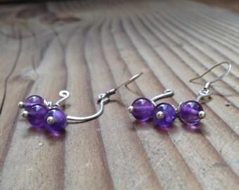 Handmade Amethyst Dangle Earrings, Small Dangle Amethyst Earrings, Free Shipping