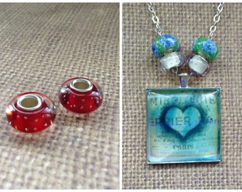 2pc...European Murano Glass Bead...Red Stud..Great for Glass Tile necklaces. Fits most European Bracelets...B010