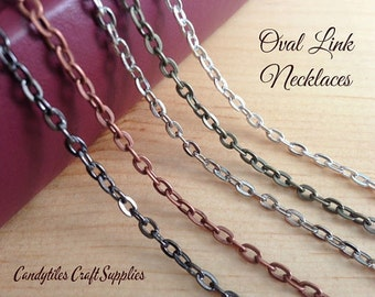 20 Oval Link Chain Necklaces....Mix and Match...Gun Metal..Antique Brass..Copper..Silver..OLC24