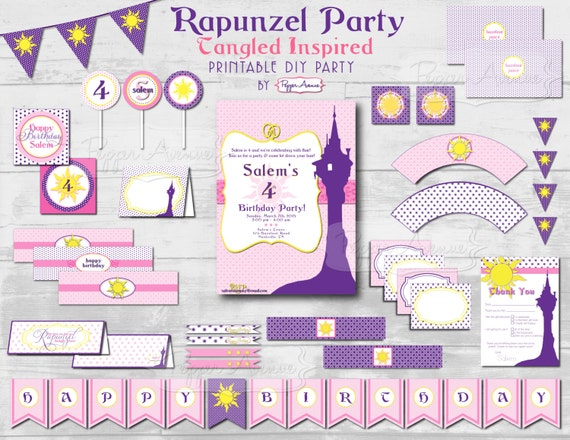 Custom Rapunzel -Tangled Inspired- Party Package - Diy Printable File - (PARTIAL INSTANT DOWNLOAD!!)