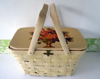 Vintage Basket Purse Wooden Purse Top Handle Bag Hippie 1960s Bohemian Cream Ivory