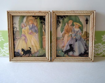 Vintage 1930s Silhouette Framed Pictures Pair Romantic Home Decor Wall Hanging Art Deco Pictures