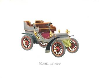 Old Color Car Print of a 1903 Cadillac A