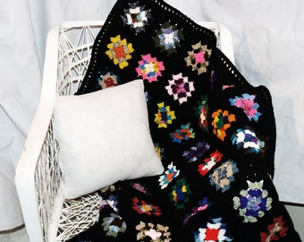 Black Granny Square Afghan, Full Sized - Crocheted, Blanket, Multicolor, Full, Crochet, Traditional, Wedding, House Warming, Ready-To-Ship