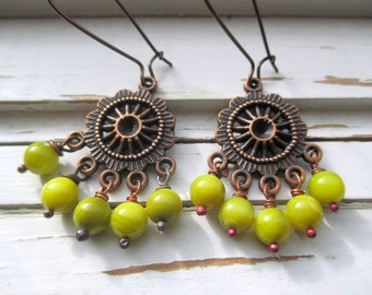 Guacamole earrings, copper and green glass beaded earrings, fall earrings, chandlier style