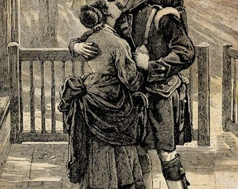 Scottish soldier couple kissing png clip art digital download graphics war lovers romance printable images