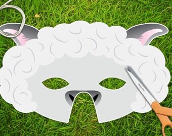 White Lamb Sheep Printable Party Mask, Easter Printable PDF Mask