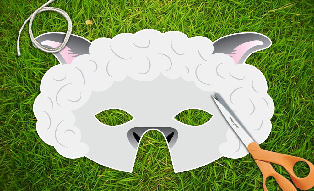 white lamb sheep printable party mask easter printable pdf