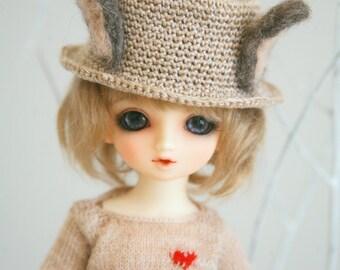 Jiajiadoll- hand knitting cream rabbit bunny ear straw hat fits  YOSD Or Lati yellow 1/6 BJD 1/8BJD