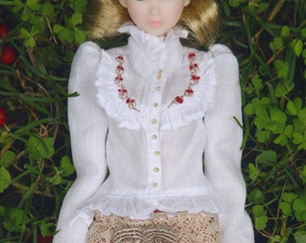 jiajiadoll - white layered hand embroider flower shirts blouse for Momoko and misaki or Blythe