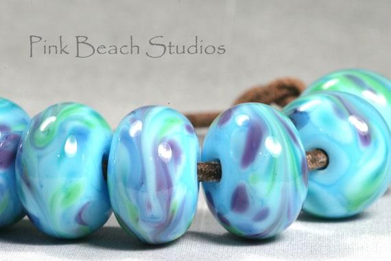 Sky Blue Luau Handmade Glass Lampwork Beads (7 Count) by Pink Beach Studios - SRA (PB75)