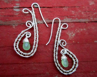 Spiral Goddess Wire Wrap Earrings with Green Chalcedony