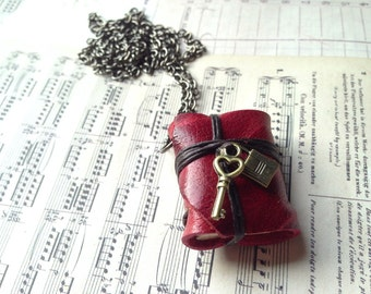 Gift for Mother's Day Lock&key MiniatureBook Necklace Maroon Red color
