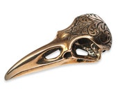 Raven Skull Necklace, Solid Bronze Raven Necklace, Engraved Bird Skull Pendant Necklace 313
