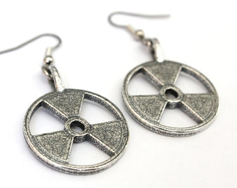 Radioactive Symbol Earrings Trefoil in Silver Plated White Bronze 117