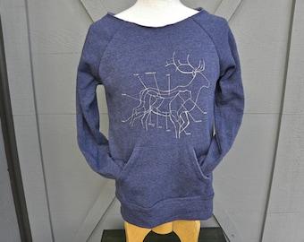 "Medium Raskol Ink. Flashdance Sweater with the hand drawn silk screened design ""Elk Hunting Widow"""