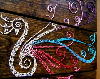 """Large Peacock String Art Tablets - Set of 3 boards - 30"""" x 30"""""""