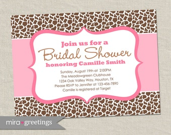 Giraffe Pattern Shower Invitation - Printable Digital File