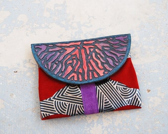 Tooled Leather Clutch - Nervous System Abstract Ombre Red Purple Blue Hand Painted Pouch