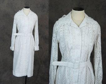 vintage 60s Dress - 1960s White Lace Shift Dress Shirt Dress Sz M