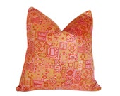 Bohemian Lumbar Pillows, Pink Orange Pillow, Colorful Vintage Silk, Unique, Bright Boho Chic Cushion, Eclectic, SALE, Lumbar 12x18, 30x45 cm