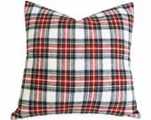 Stewart Dress Tartan Plaid Pillow, White Red Blue, Wool Plaid Throw Pillows, 18, 20, 22, Cushion Cover, Country, Christmas, Holiday Decor