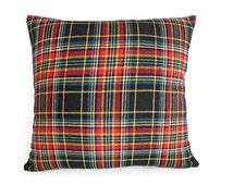 SALE, Mens Plaid Pillow Cover, Wool Tartan Plaid, Rustic Decorative Throw Pillow, Black Red Blue Yellow, Cabin Decor 18x18