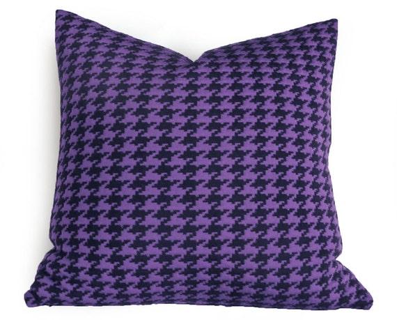 Purple Black Plaid Pillows, Christmas Pillow Covers, Houndstooth Pillow Cover, Purple Pillow,Plaid Cushions, Holiday Pillows, 20x20, SALE