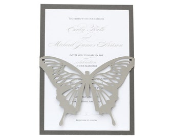 Butterfly Wedding Invitations - beautiful, laser cut, gray, monarch, wedding invites, cutout, wrap design with customizable colors