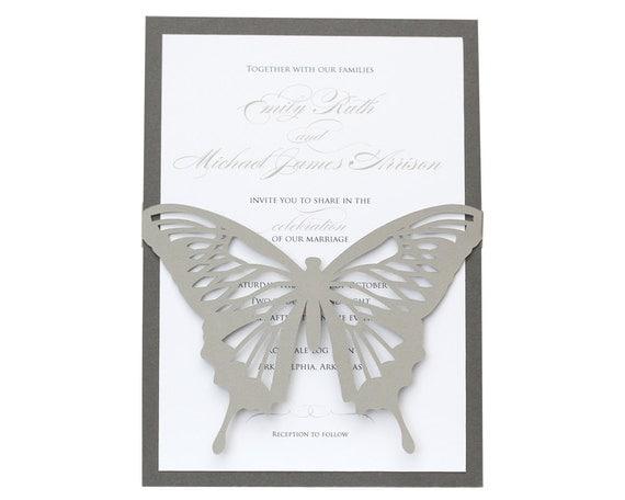 Wedding Butterfly Invitations: Butterfly Wedding Invitations Beautiful Laser Cut Gray