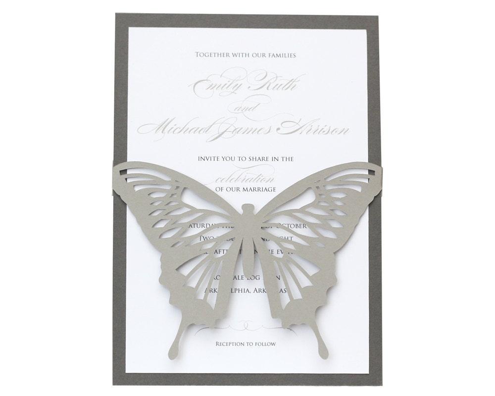 Wedding Butterfly Invitations: Butterfly Wedding Invitations Shimmer Silver Slate Gray
