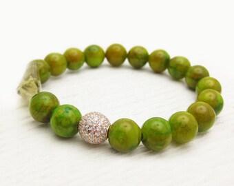 Moss Green Jade Citrine Smoky Quartz Sterling Pave Gemstone Bead Bracelet / grass lime green / lemon yellow / boho stacking / CZ bling
