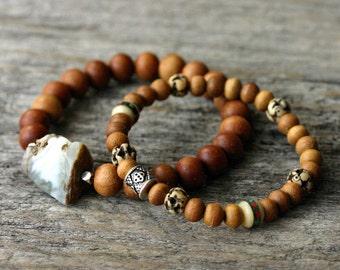 Nepal Bone Sandalwood Bohemian Bracelet / Turquoise Coral Inlaid Bone, Fragrant Wood, Sterling Silver / Red Blue Dark Brown, Black Silver