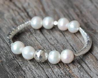 White Pearl Silver Bangle / Hammered Hill Tribe Silver / Ocean Beach Nautical Wedding Inspired / Natural Organic Fresh Statement Bracelet