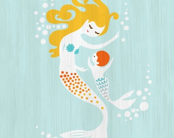 "8X10"" mermaid mother & baby boy giclee print on fine art paper. sky blue, yellow,  orange. blonde redhead. textured background."