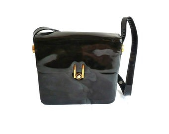JOLIE French vintage 60s Glossy Black Leather Shoulderbag