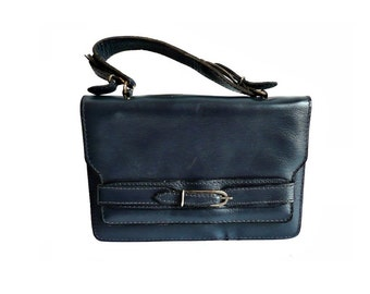 SUSIE French Vintage Blue Leather Handbag