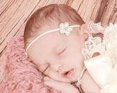 Pearl Baby Headband, Ready to Ship Baby Headband, Pearl Flower Christening Headband for Baby Girls, June Birthstone, Baby Baptism