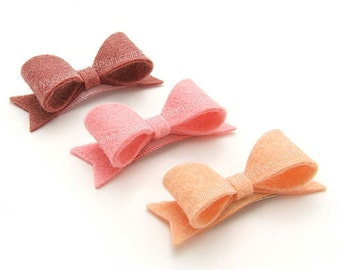Tiny Felt Bows for Babies, Felt Baby Bows, No Slip Snap Clips for Baby, 2 inch Felt Bows with Tails, Baby Bow Set,  Peach, Coral Pink, Fig