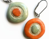 Round Hoop Earrings - Polka Dot - Orange and Sage Green - Interchangeable and Unique