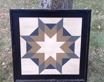 PriMiTiVe Hand-Painted Barn Quilt, Small Frame 2' x 2' - Harvest Star Pattern (Gray Version)