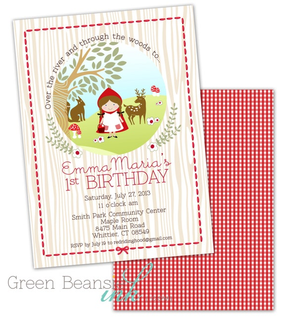 Little Red Riding Hood Birthday Printable Party Invitation and – Red Party Invitations